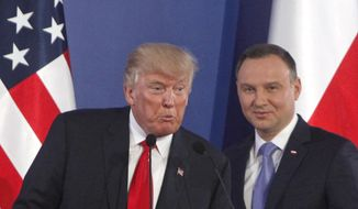 File -- In this Thursday, July 6, 2017 file photo U.S. President Donald Trump, left, speaks next to Poland's President Andrzej Duda, at the end of a joint press conference, in Warsaw, Poland. Trump and Duda will meet at the White House on June 24, four days ahead of a presidential election in Poland in which Duda, a conservative, is seeking reelection. The meeting is expected to give Duda a boost, and is seen by some as election interference. (AP Photo/Czarek Sokolowski/file)