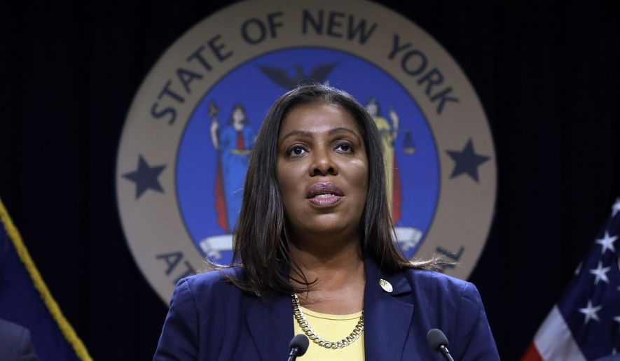 In this Nov. 19, 2019 file photo, New York State Attorney General Letitia James speaks during a news conference at her office in New York. A study by Ms. James' office finds that Black protesters taken into custody by the NYPD were five times as likely to be charged with felonies as White protesters. (AP Photo/Richard Drew, FIle)  **FILE**