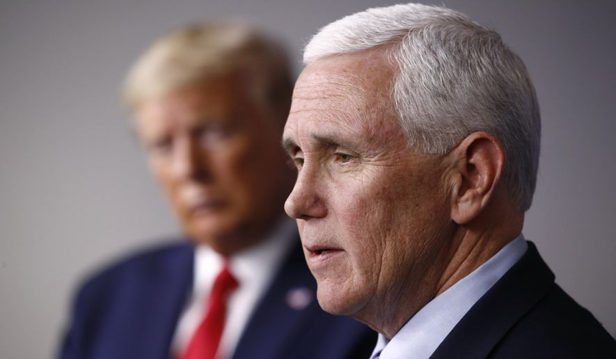 In this March 22, 2020, file photo, Vice President Mike Pence speaks alongside President Donald Trump during a coronavirus task force briefing at the White House in Washington. (AP Photo/Patrick Semansky, File)