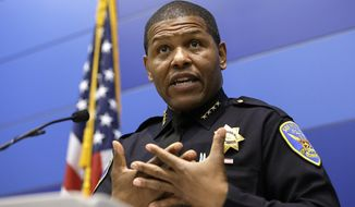 FILE - In this May 21, 2019, file photo, San Francisco Police Chief William Scott answers questions during a news conference in San Francisco. Black police chiefs representing departments from across California on Friday called for changing state law so they can immediately fire officers for egregious behavior, with due process appeals only after the fact. California has some of the nation's toughest police disciplinary rules and until last year the nation's most secretive police privacy law. (AP Photo/Eric Risberg, File)