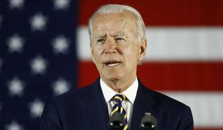 In this June 17, 2020, photo, Democratic presidential candidate, former Vice President Joe Biden speaks in Darby, Pa.  (AP Photo/Matt Slocum)  **FILE**