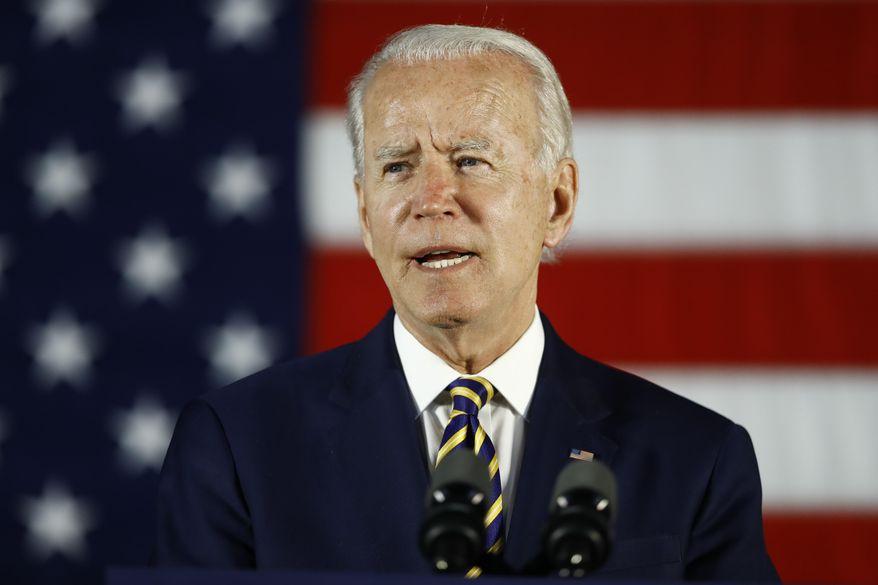 In this June 17, 2020, photo, Democratic presidential candidate, former Vice President Joe Biden speaks in Darby, Pa.  (AP Photo/Matt Slocum)  **FILE**