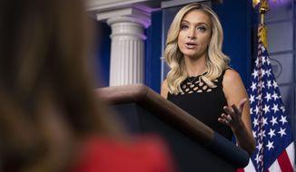 White House press secretary Kayleigh McEnany speaks during a press briefing in the James Brady Press Briefing Room at the White House, Friday, June 19, 2020, in Washington. (AP Photo/Alex Brandon)