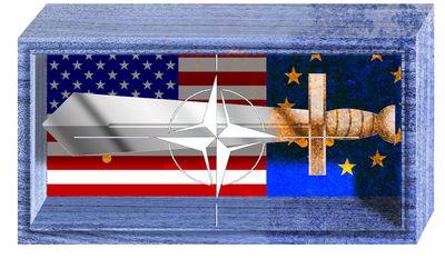 Illustration on NATO by Alexander Hunter/The Washington Times