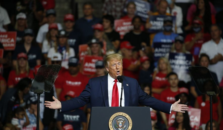President Donald Trump speaks during a campaign rally in Tulsa, Okla., Saturday, June 20, 2020. (AP Photo/Sue Ogrocki)