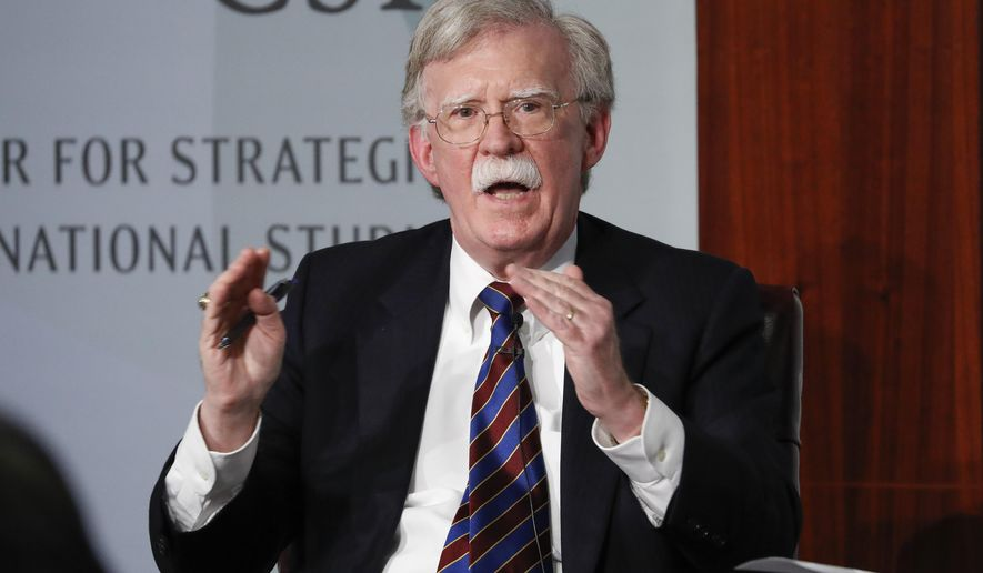 Former National Security Adviser John Bolton gestures while speakings at the Center for Strategic and International Studies in Washington. (AP Photo/Pablo Martinez Monsivais, File)