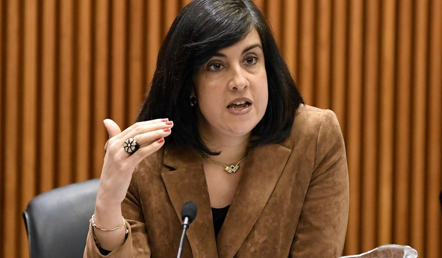 FILE - In this Feb. 11, 2019, file photo, Assemblywoman Nicole Malliotakis, R-Staten Island, questions New York City Mayor Bill de Blasio during a joint legislative budget hearing on local government, in Albany, N.Y. (AP Photo/Hans Pennink, File)