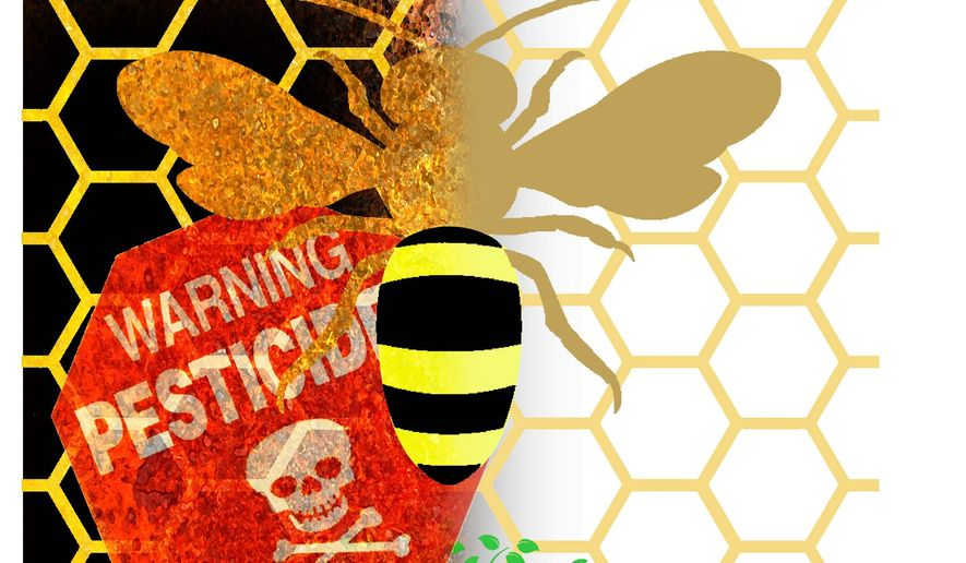 Illustration on bees and pesticide use by Alexander Hunter/The Washington Times