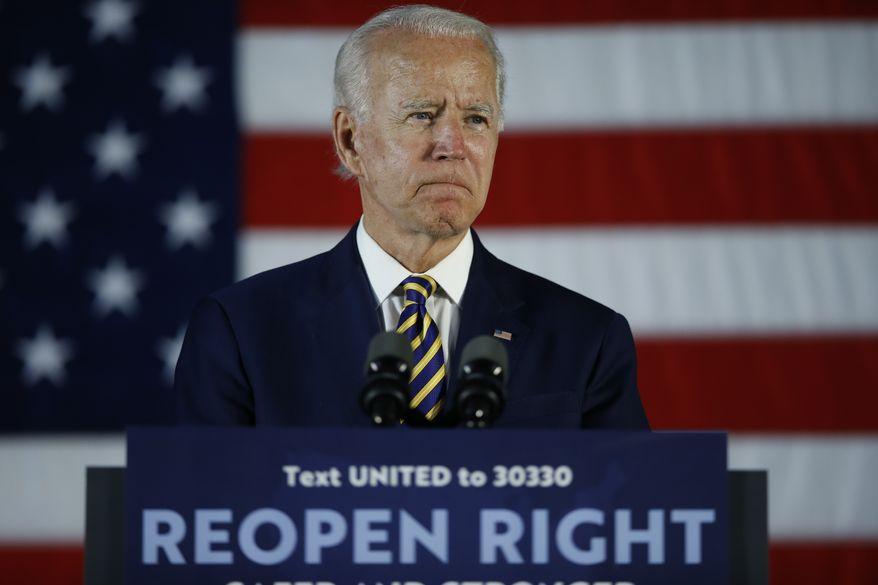 Democratic presidential candidate, former Vice President Joe Biden pauses while speaking, Wednesday, June 17, 2020, in Darby, Pa. (AP Photo/Matt Slocum) ** FILE **