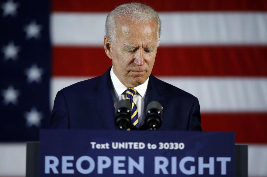 Democratic presidential candidate former Vice President Joe Biden pauses while speaking Wednesday, June 17, 2020, in Darby, Pa. (AP Photo/Matt Slocum) ** FILE **