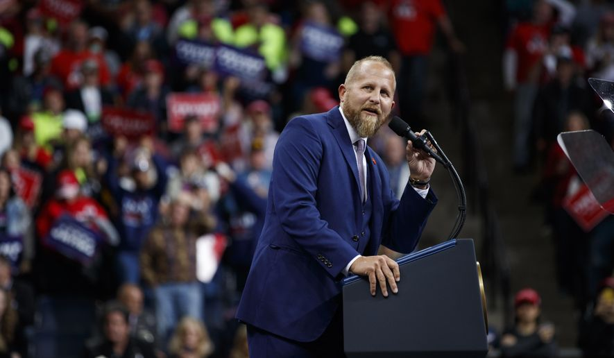 Brad Parscale, campaign manager for President Donald Trump speaks during a campaign rally at the Target Center in Minneapolis. (AP Photo/Evan Vucci, File)