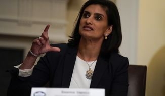Administrator of the Centers for Medicare and Medicaid Services Seema Verma speaks during a roundtable with President Donald Trump about America's seniors, in the Cabinet Room of the White House, Monday, June 15, 2020, in Washington. (AP Photo/Evan Vucci)