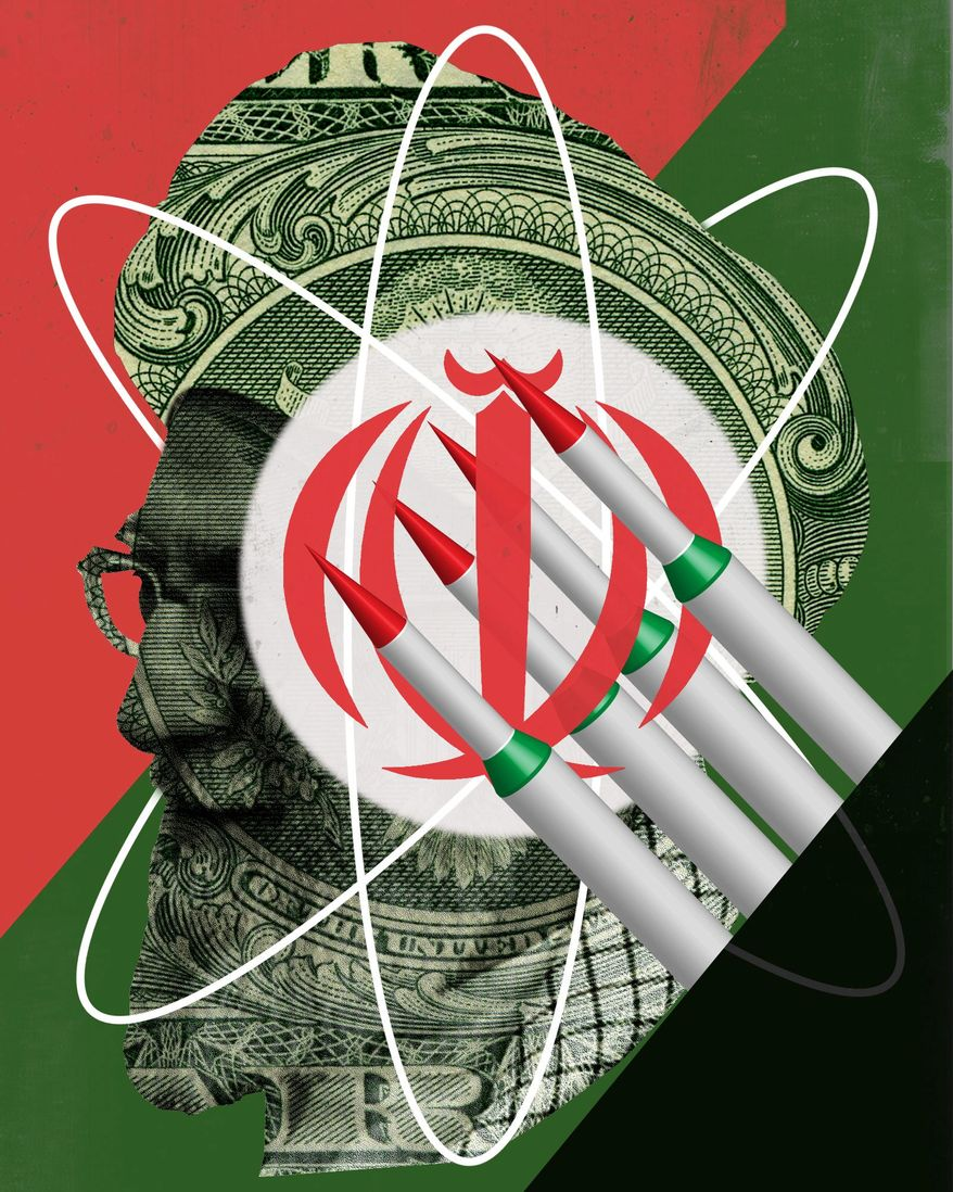 Illustration on Iranian aims for nuclear armament by Linas Garsys/The Washington Times