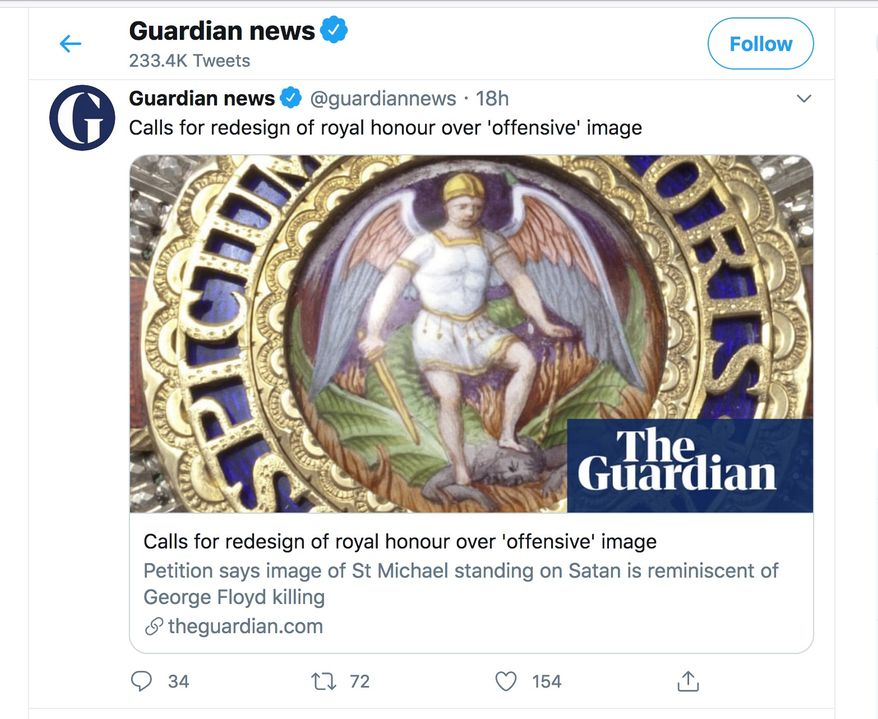 Diplomats and senior Foreign Office officials may soon receive a different image of St. Michael crushing Satan on a royal honor if British activists have their way. They're calling for a redesign of The Order of St Michael because the iconic image reminds them of a police officer kneeling on George Floyd in Minneapolis. (Image: Twitter, U.K. Guardian)