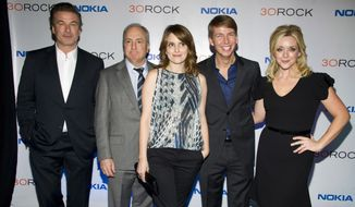 "Alec Baldwin, from left, Lorne Michaels, Tina Fey, Jack McBrayer and Jane Krakowski attend the ""30 Rock"" farewell wrap party in New York, Dec. 20, 2012. At the request of co-creator Tina Fey, four episodes of the comedy 30 Rock are being removed from circulation because they featured characters performing in blackface. The series aired on NBC from 2006 to 2013, but episodes are still being shown in television syndication and on streaming services including Hulu, Amazon Prime, iTunes and Peacock. (Photo by Charles Sykes/Invision/AP) ** FILE **"