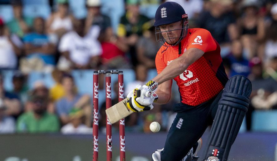 FILE - In this file photo dated Sunday, Feb. 16, 2020, England's batsman Jonny Bairstow during the final T20 cricket match against South Africa at Centurion Park in Pretoria, South Africa.  On Tuesday June 16, 2020, wicketkeeper-batsman Jonny Bairstow insists he has the hunger to win back his test place with England and will not be satisfied just playing limited-overs cricket.(AP Photo/Themba Hadebe, FILE)