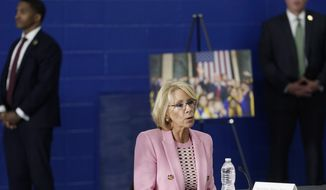 Education Secretary Betsy DeVos participates in a roundtable event at Waukesha STEM Academy Tuesday, June 23, 2020, in Waukesha, Wis. (AP Photo/Morry Gash) **FILE**