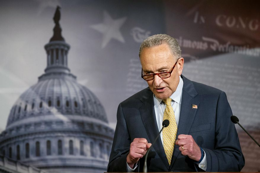 In this June 16, 2020, photo, Senate Majority Leader Chuck Schumer of N.Y., speaks during a news conference on Capitol Hill in Washington. (AP Photo/Manuel Balce Ceneta)  ** FILE **
