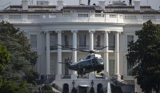 Marine One, with President Donald Trump aboard, lifts off from the South Lawn of the White House, Tuesday, June 23, 2020, in Washington, en route to Andrews Air Force Base and on to Yuma, Ariz. (AP Photo/Carolyn Kaster)