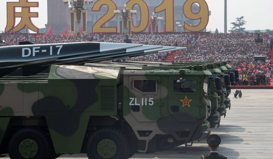 China rolled out its DF-17 last year and announced that the hypersonic glide vehicle, which poses a threat to electronics, is close to deployment. (Associated Press/File)