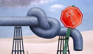 Blocking the Gas Pipeline Illustration by Greg Groesch/The Washington Times