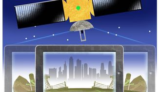 Illustration on expanded broadband to rural areas by Alexander Hunter/The Washington Times