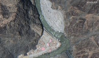 This June 22, 2020, satellite image provided by Maxar Technologies shows the Line of Actual Control (LAC), the border between India and China. Chinese and Indian military commanders agreed to disengage their forces in the disputed area of the Himalayas following a clash that left at least 20 soldiers dead, both countries said. The commanders reached the agreement Monday, June 22, 2020, in their first meeting since the June 15 confrontation, the countries said. (Maxar Technologies via AP)