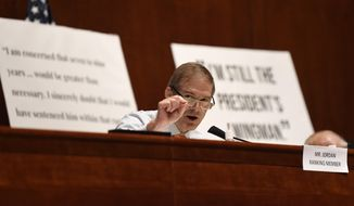Rep. Jim Jordan, R-Ohio, speaks during a House Judiciary Committee hearing on Capitol Hill in Washington, Wednesday, June 24, 2020, on oversight of the Justice Department and a probe into the politicization of the department under Attorney General William Barr. Former Attorney General Michael Mukasey, front left, waits to testify. (AP Photo/Susan Walsh, Pool) ** FILE **