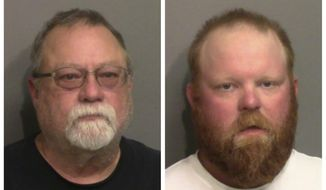 """This photo combo of images taken Thursday, May 7, 2020, and provided by the Glynn County Detention Center, in Georgia, show Gregory McMichael, left, and his son Travis McMichael. A prosecutor on Wednesday, June 24, 2020 announced that three men have been indicted on murder charges in the killing of Ahmaud Arbery in coastal Georgia. Speaking to reporters outside the Glynn County courthouse, prosecutor Joyette Holmes said a grand jury has indicted Travis McMichael, Gregory McMichael and William """"Roddie"""" Bryan Jr. on charges including malice and felony murder in the death of the African American man. (Glynn County Detention Center via AP)"""