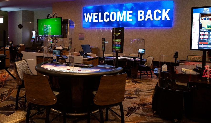MGM National Harbor reopens Monday to 50% capacity. Safety measures include Plexiglass at card tables, mask requirements and only half the gaming machines will be in use. (All-Pro Reels photograph)