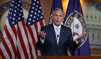 House Minority Leader Kevin McCarthy of Calif., speaks during a news conference on Capitol Hill in Washington, Thursday, June 25, 2020. (AP Photo/Carolyn Kaster) ** FILE **