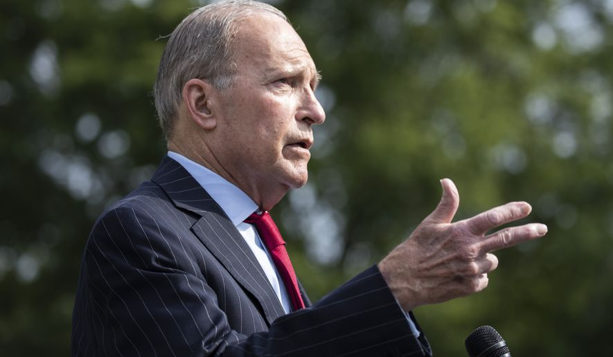 White House chief economic adviser Larry Kudlow speaks with reporters at the White House, Thursday, June 25, 2020, in Washington. (AP Photo/Alex Brandon) **FILE**