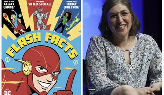 """This combination photo shows a cover image released by DC Comics of """"Flash Facts"""" by Mayim Bialik, left, and Mayim Bialik as she speaks at AT&T's SHAPE: """"The Scully Effect is Real"""" panel on June 22, 2019, in Burbank, Calif. """"Big Bang Theory"""" actress Bialik is teaming with DC Entertainment on a project that joins superhero power to the power of science. (Derek Charm/DC Comics via AP, left, and AP Photo)"""