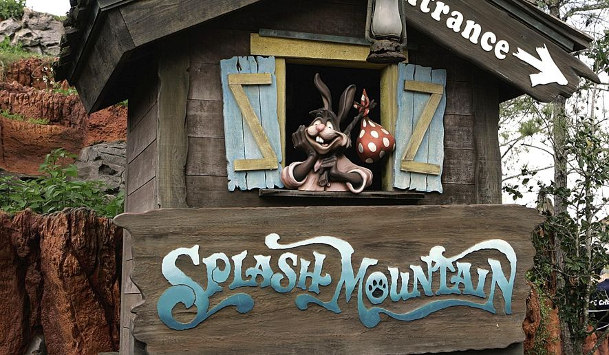 """In this March 21, 2007 file photo, the character Brer Rabbit, from the movie, """";Song of the South,"""" is depicted near the entrance to the Splash Mountain ride in the Magic Kingdom at Walt Disney World in Lake Buena Vista, Fla. (AP Photo/John Raoux, File)"""