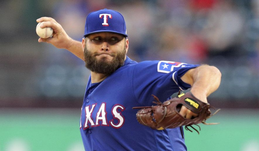 FILE - In this  Tuesday, Sept. 10, 2019 file photo, Texas Rangers starting pitcher Lance Lynn throws during the first inning of the team's baseball game against the Tampa Bay Rays, in Arlington, Texas.  Veteran right-hander Lance Lynn has been named the opening day starter for the Texas Rangers, a game that will come more than four months after manager Chris Woodward actually made that decision. Woodward revealed his choice Thursday, June 25, 2020. (AP Photo/Richard W. Rodriguez, File)