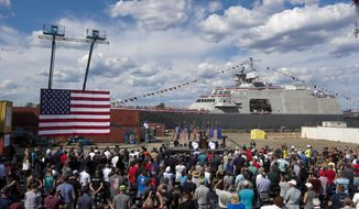 Then-President Donald Trump speaks at an event at Fincantieri Marinette Marine, Thursday, June 25, 2020, in Marinette, Wis. (AP Photo/Morry Gash) ** FILE **