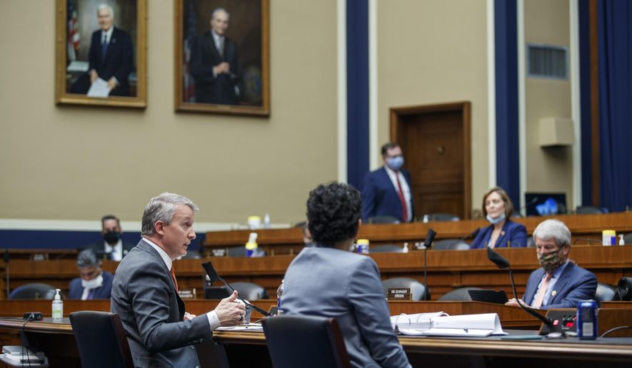 Rick Bright, former director of the Biomedical Advanced Research and Development Authority, testifies before a House Energy and Commerce Subcommittee on Health hearing to discuss protecting scientific integrity in response to the coronavirus outbreak, Thursday, May 14, 2020, on Capitol Hill in Washington.  (Shawn Thew/Pool via AP)