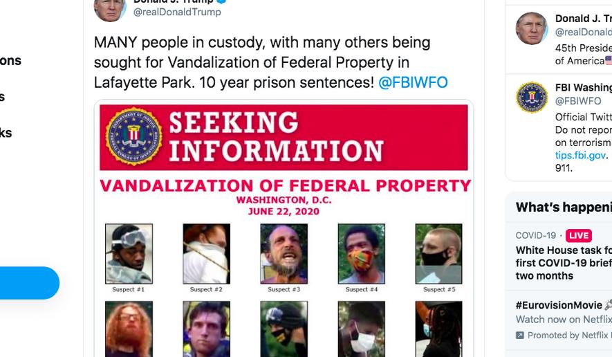 "President Trump's tweet of the FBI ""wanted"" poster. (Twitter screen shot)"