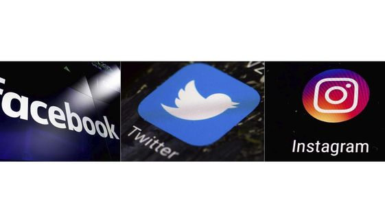 This combination of photos shows logos for social media platforms, from left, Facebook, Twitter and Instagram.  (AP Photo)