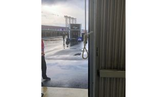 This photo provided by NASCAR shows the noose found in the garage stall of Black driver Bubba Wallace at Talladega Superspeedway in Talladega, Ala., on Sunday, June 21, 2020. The discovery prompted a federal investigation that determined the rope had been there since at least last October. (NASCAR via AP)