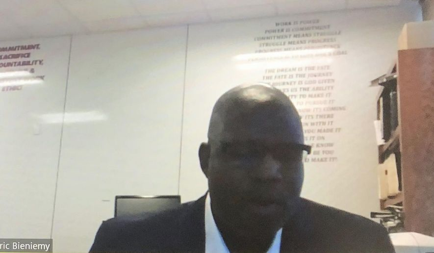 In this image made from video, Kansas City Chiefs offensive coordinator Eric Bieniemy speaks on a Zoom call Tuesday, June 23, 2020. The biggest takeaway following the NFL's two-day quarterback coaching summit aimed at improving the league's diversity, is that there's no shortage of qualified minority candidates waiting for opportunities to be head coaches and coordinators.(Rob Maaddi/Zoom via AP)