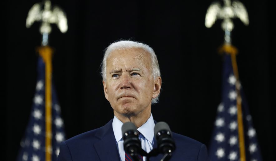 In this June 25, 2020, photo, Democratic presidential candidate and former Vice President Joe Biden pauses while speaking during an event in Lancaster, Pa. (AP Photo/Matt Slocum) **FILE**