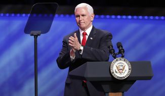 Vice President Mike Pence speaks at the Southern Baptist megachurch First Baptist Dallas during a Celebrate Freedom Rally in Dallas, Sunday, June 28, 2020. (AP Photo/Tony Gutierrez)