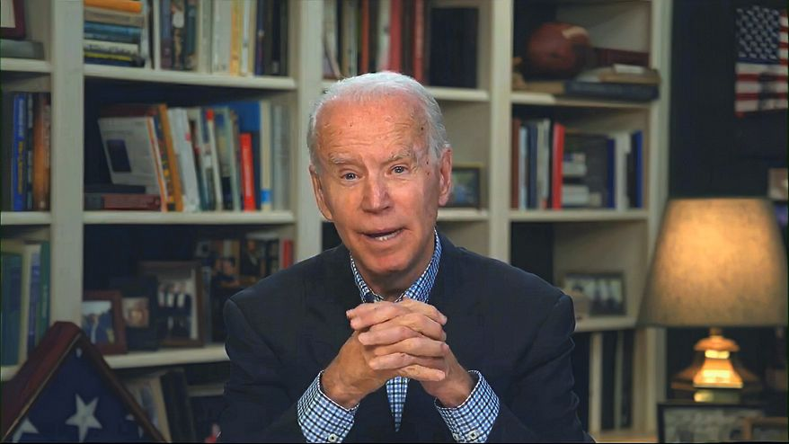 In this image from video provided by the Biden for President campaign, Democratic presidential candidate former Vice President Joe Biden speaks during a virtual press briefing Wednesday, March 25, 2020. (Biden for President via AP) ** FILE **