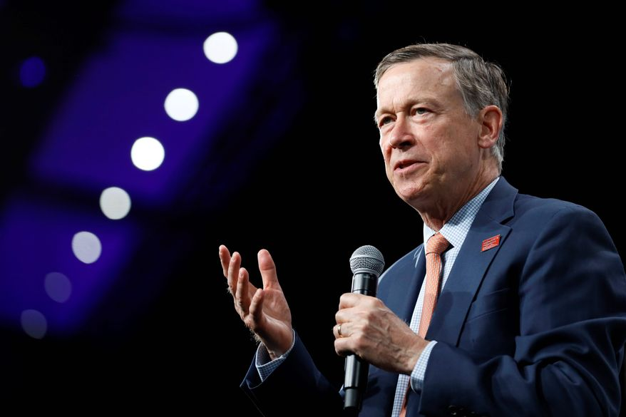 Former Colorado Gov. John Hickenlooper is running for Senate. However, he is facing calls to drop out of the primary against former Colorado House Speaker Andrew Romanoff. Mr. Hickenlooper made a series of racially insensitive remarks and photos emerged. (Associated Press)