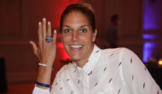 Washington Mystics forward and WNBA MVP Elena Delle Donne shows off her 2019 WNBA championship ring on Sunday, June 28, 2020. (Photo courtesy of Washington Mystics)