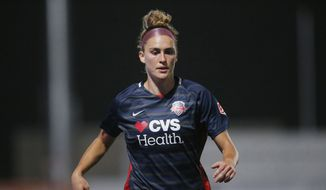 Washington Spirit midfielder Averie Collins runs up field during the second half of an NWSL Challenge Cup soccer match against the Chicago Red Stars at Zions Bank Stadium Saturday, June 27, 2020, in Herriman, Utah. (AP Photo/Rick Bowmer) ** FILE **