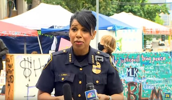 "Seattle Police Chief Carmen Best talks to reporters about violence in the ""Capitol Hill Organized Protest"" (CHOP) zone, June 29, 2020. (Image: YouTube, King-5, NBC Seattle video screeshot)"