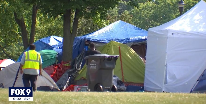 Minneapolis Park Police say a child was sexually assaulted overnight Thursday in the ever-growing homeless encampment at Powderhorn Park, where neighbors have vowed not to call law enforcement in the wake of the George Floyd protests. (screengrab via FOX 9)