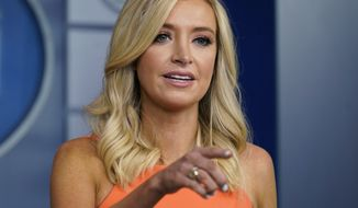 White House press secretary Kayleigh McEnany speaks during a press briefing at the White House, Monday, June 29, 2020, in Washington. (AP Photo/Evan Vucci)